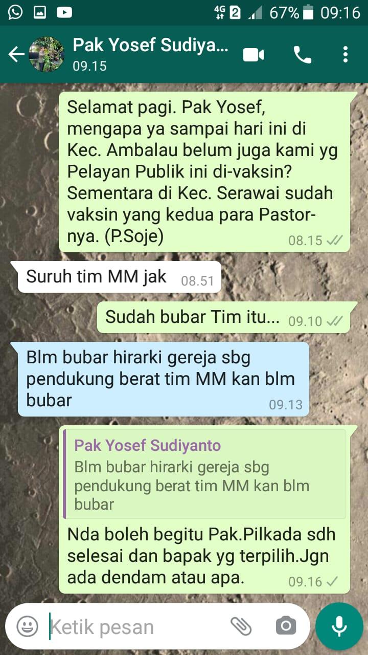 Screenshots pesan Wabup Sintang dengan RD. Markus Jose